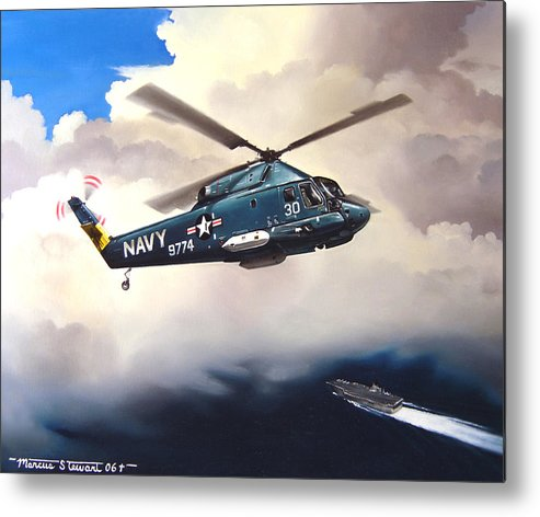 Military Metal Print featuring the painting Flight of the Seasprite by Marc Stewart