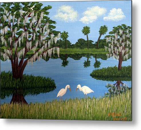 Landscape Paintings Metal Print featuring the painting Florida Wetlands by Frederic Kohli
