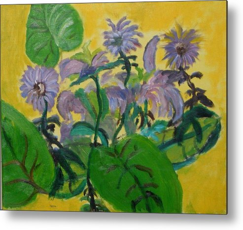 Metal Print featuring the painting Flower garden by Jason Rosenstock