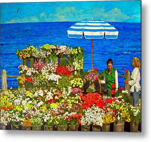 Flower Metal Print featuring the painting Flower Vendor in Sea Point by Michael Durst