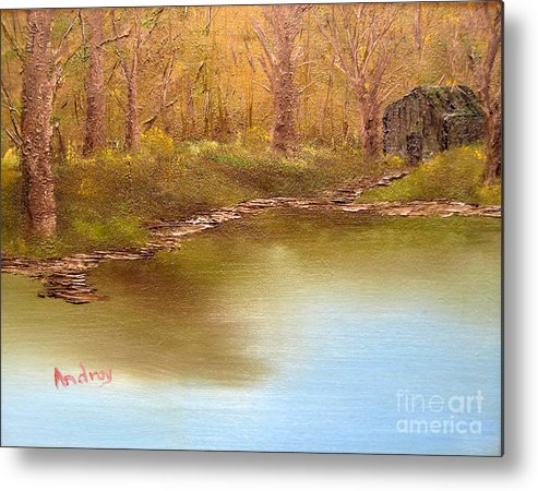 Water Metal Print featuring the painting Forgotten Lake by Todd Androy