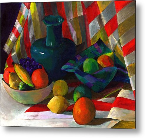 Still Metal Print featuring the painting Fruit Still Life by Peter Shor