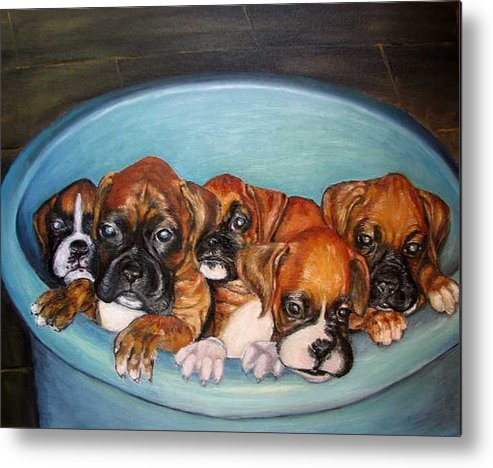 Oil Metal Print featuring the painting Funny Puppies orginal oil painting by Natalja Picugina