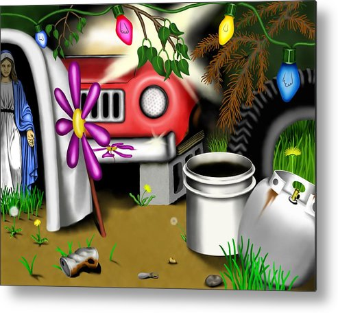 Surrealism Metal Print featuring the digital art Garden Landscape I - Into The Trailorpark by Robert Morin