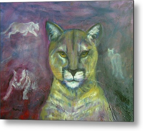 Wildlife Metal Print featuring the painting Ghost Cat by Darla Joy Johnson