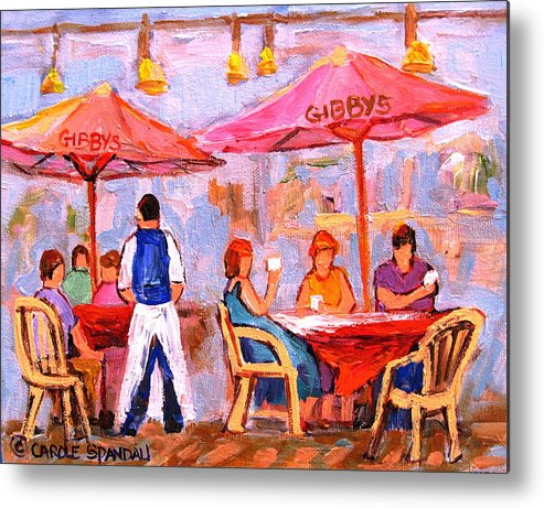 Gibbys Restaurant Montreal Street Scenes Metal Print featuring the painting Gibbys Cafe by Carole Spandau