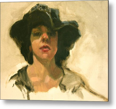 Portrait Metal Print featuring the painting Girl In A Floppy Hat by Merle Keller