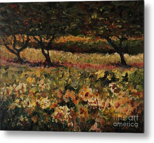 Landscape Metal Print featuring the painting Golden Sunflowers by Nadine Rippelmeyer