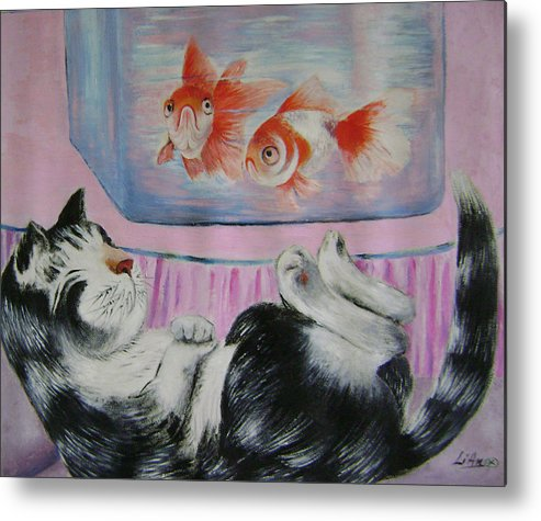 Fantasy Metal Print featuring the painting Goldfish Dream by Lian Zhen