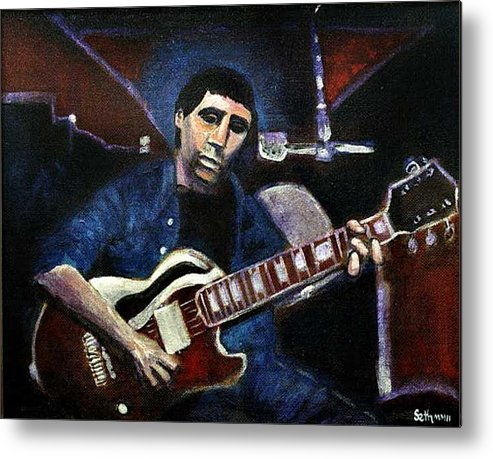 Shining Guitar Metal Print featuring the painting Graceland Tribute to Paul Simon by Seth Weaver