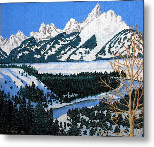 Landscape Art Metal Print featuring the painting Grand Teton by Frederic Kohli