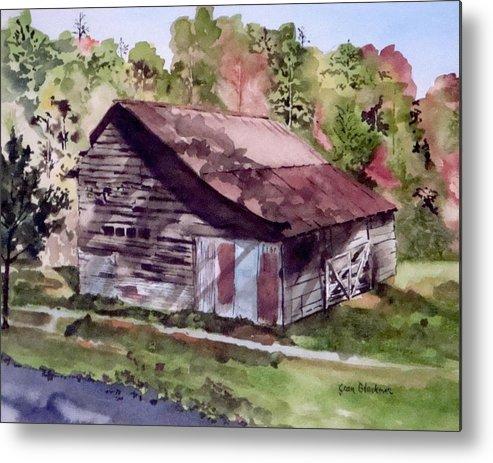 Barns Metal Print featuring the painting Green Creek Barn by Jean Blackmer