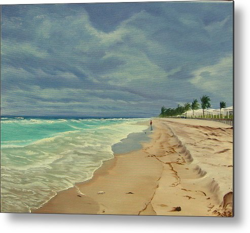 Beach Metal Print featuring the painting Grey Day on the Beach by Lea Novak