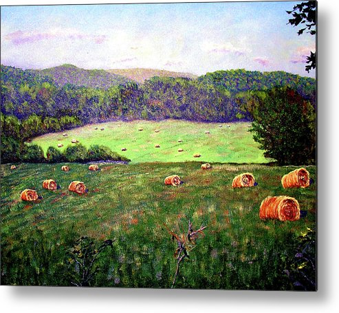 Original Oil On Canvas Metal Print featuring the painting Hay Field by Stan Hamilton