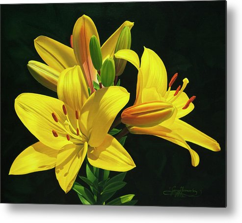 Yellow Lilies Metal Print featuring the painting Her Majesty's Lilies by Gary Hernandez