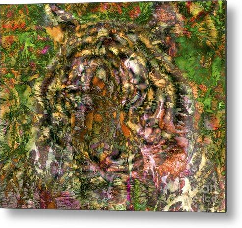 Tiger Metal Print featuring the digital art Hidden Tiger by Chuck Brittenham