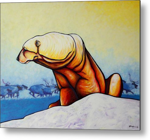 Wildlife Metal Print featuring the painting Hunger Burns - Polar Bear and Caribou by Joe Triano