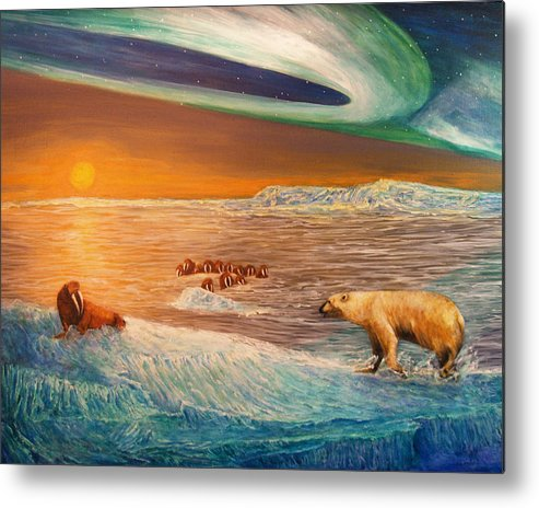 Walrus Metal Print featuring the painting Impending Threat by Dianne Roberson