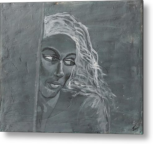 Women Metal Print featuring the painting In The Moon Light by J Bauer