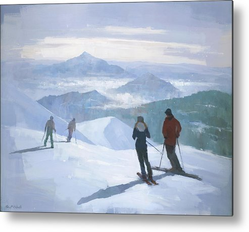 Ski Metal Print featuring the painting Into the Valley by Steve Mitchell
