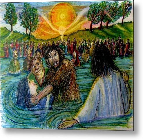 Jesus Metal Print featuring the painting Jesus came to John the Baptist by Richard Hubal