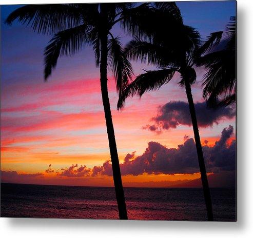 Kaanapali Sunset Metal Print featuring the photograph Kaanapali Sunset Kaanapali Maui Hawaii by Michael Bessler