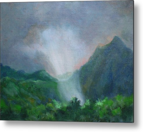 Landscape Metal Print featuring the painting Kualoa Ranch Light Show by Bryan Alexander