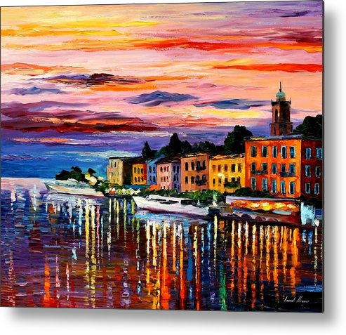 Cityscape Metal Print featuring the painting Lake Como - Bellagio by Leonid Afremov