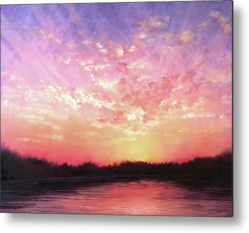 Landscape Metal Print featuring the painting Lake Sunset by Teri Rosario