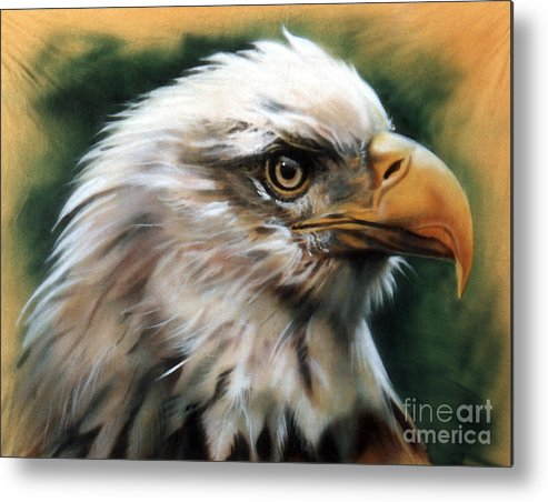 Southwest Art Metal Print featuring the painting Leather Eagle by J W Baker