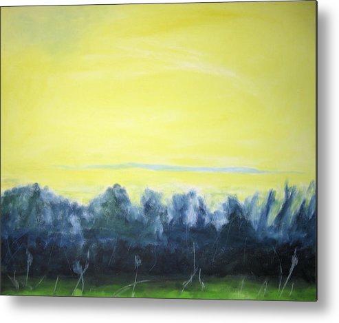 Metal Print featuring the painting Lemon Sunset by Ingrid Torjesen