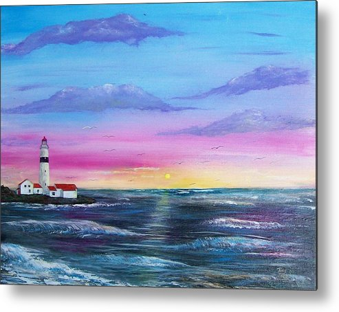 Seascape Metal Print featuring the painting Lighthouse 5 by Tony Rodriguez