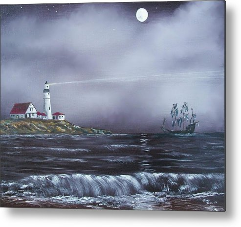 Seascape Metal Print featuring the painting Lighthouse by Tony Rodriguez