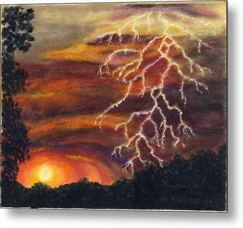 Lightning At Sunset Painted In Vibrant Colors Metal Print featuring the painting Lightning at Sunset by Tanna Lee M Wells