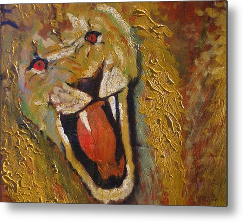 Lion Metal Print featuring the painting Lion one by J Bauer