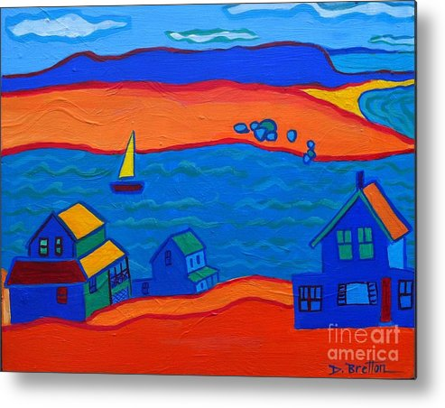 Landscape Metal Print featuring the painting Little Neck Cottages by Debra Bretton Robinson