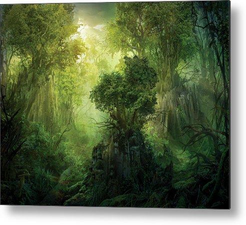 Landscape Metal Print featuring the painting Llanowar Reborn by Philip Straub