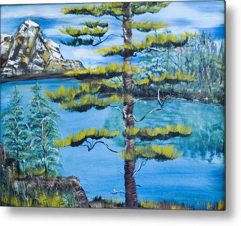 Landscape Metal Print featuring the painting Lone Pine by Mikki Alhart
