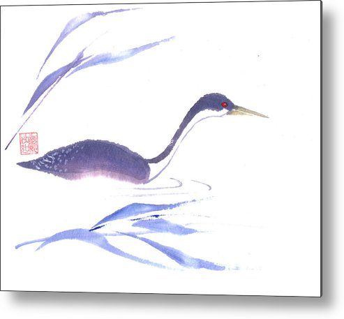 A Lone Loon Swimming Through The Tall Grass. This Is A Contemporary Chinese Ink And Color On Rice Paper Painting With Simple Zen Style Brush Strokes.  Metal Print featuring the painting Loon by Mui-Joo Wee