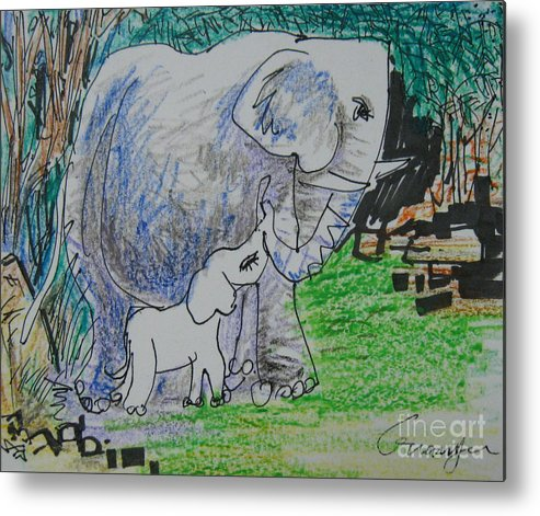Elephant Metal Print featuring the drawing Love I by Guanyu Shi