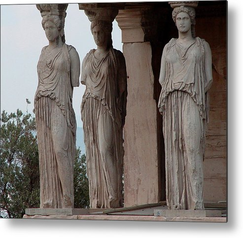 Athens Greece Metal Print featuring the photograph Maidens of the Porch by Nancy Bradley
