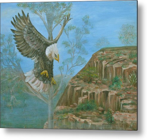 Eagle Metal Print featuring the painting Majestic Warrior by Mikki Alhart