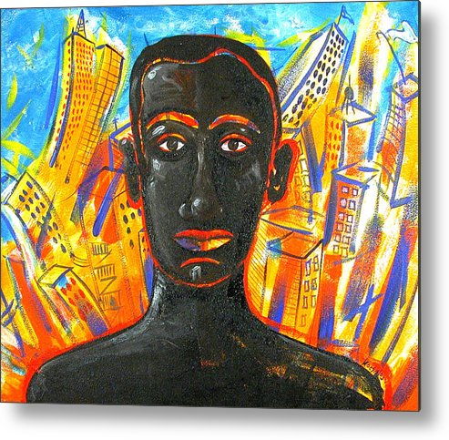 Man Metal Print featuring the painting Man and The City by Rollin Kocsis