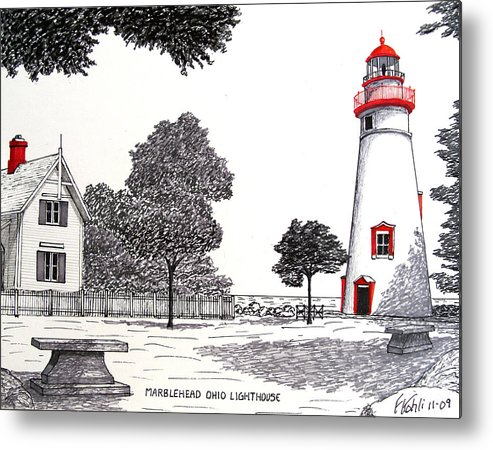 Lighthouse Drawings Metal Print featuring the drawing Marblehead Ohio Lighthouse Drawing by Frederic Kohli