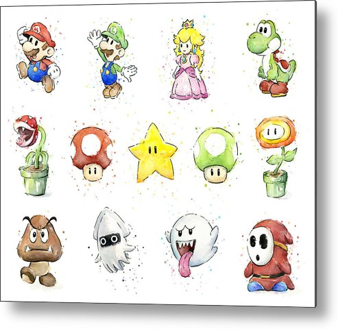 Mario Metal Print featuring the painting Mario Characters in Watercolor by Olga Shvartsur
