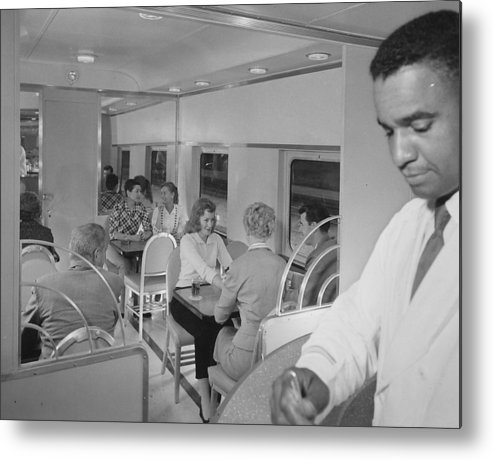 Passengers Metal Print featuring the photograph Passengers Mingle on Train - 1958 by Chicago and North Western Historical Society