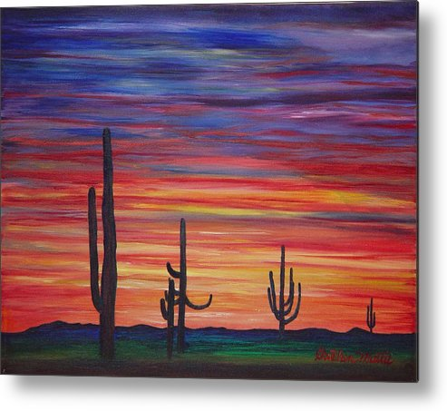 Landscape Metal Print featuring the painting Mesa Sunset by Gretchen Matta