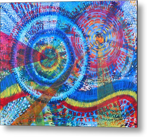 Dots Metal Print featuring the painting Microcosm V by Rollin Kocsis