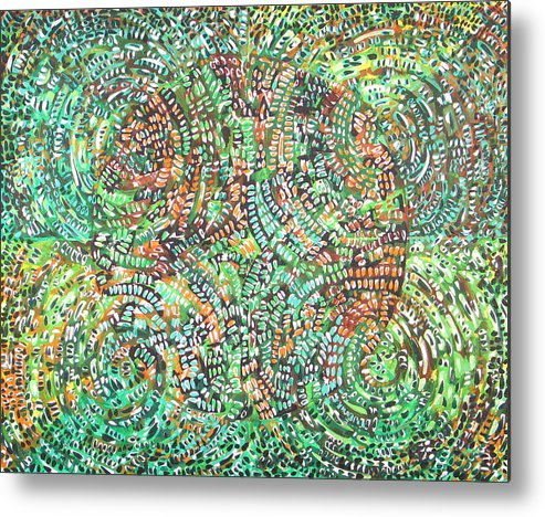 Non-objective Metal Print featuring the painting Microcosm XI by Rollin Kocsis