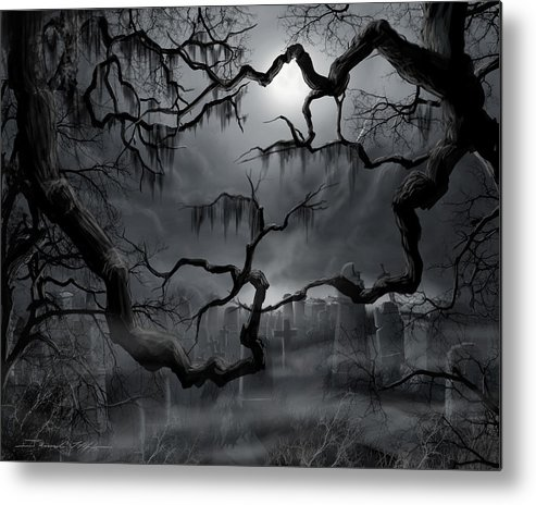 Ghosts Metal Print featuring the painting Midnight in the Graveyard II by James Christopher Hill
